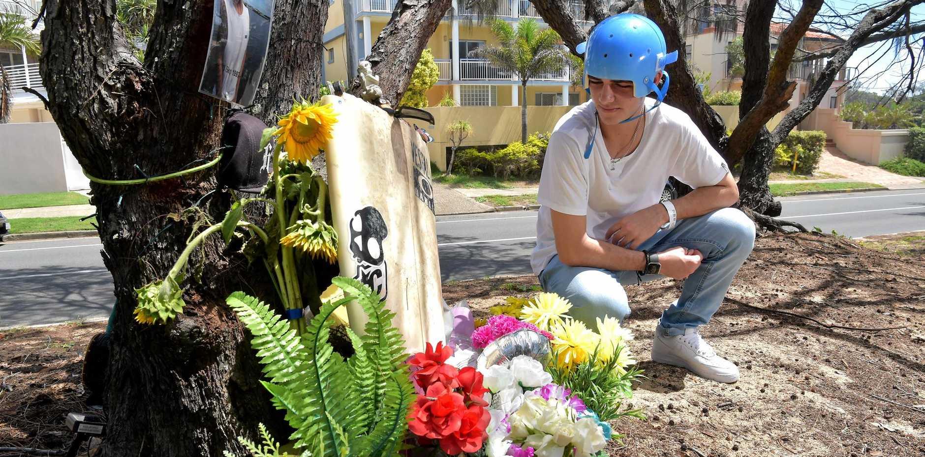TRAGIC TOLL: Survivor Josh Harrison visits the Buddina scene of a January crash which killed his mate Bailey Sibraa.