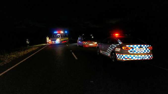 The scene of a two-vehicle crash along Pialba Burrum Heads Rd.