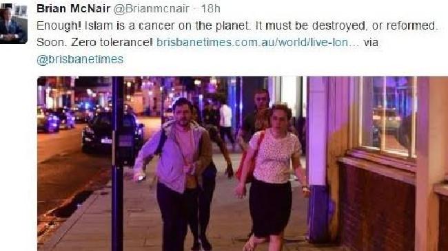 The tweet from Brian McNair.