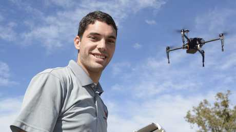 FUTURE AG: Josh Voelker from PrecisionHawk demonstrates the capabilities of one of the company's drones at CRT FarmFest 2017 at Kingsthorpe.