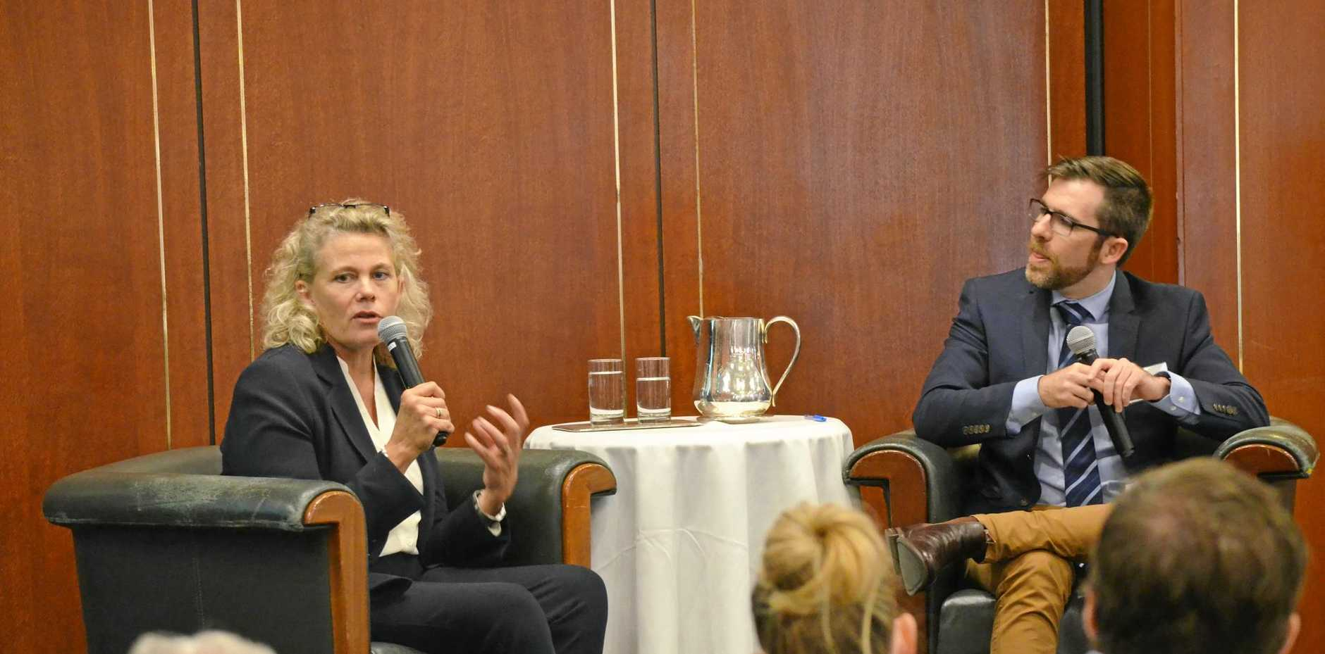 National Farmers' Federation president Fiona Simson with ABC breakfast host Craig Zonca at the Rural Press Club meeting in Brisbane.
