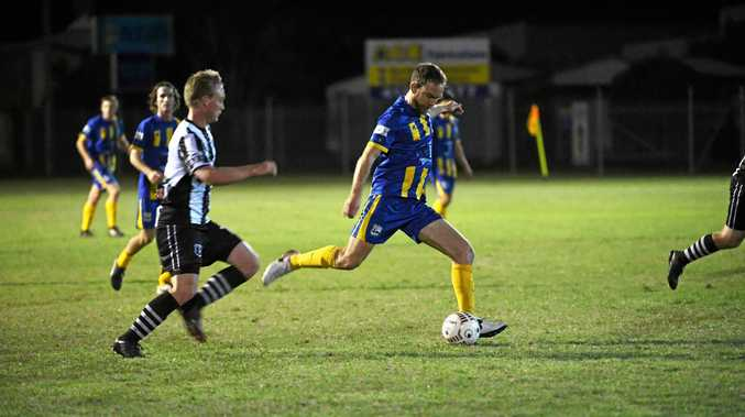 LONG SHOT: Alex Keen was one of the goal scorers for The Waves in their draw with Bingera at The Waves Sports Ground.