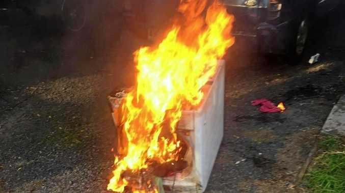Jesse Bonell's Samsung washing machine on fire.
