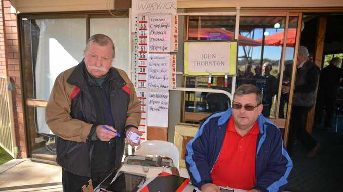 BETS: Bookie John Thornton and Greg Rae at the Tuesday TAB meeting at Allman Park.