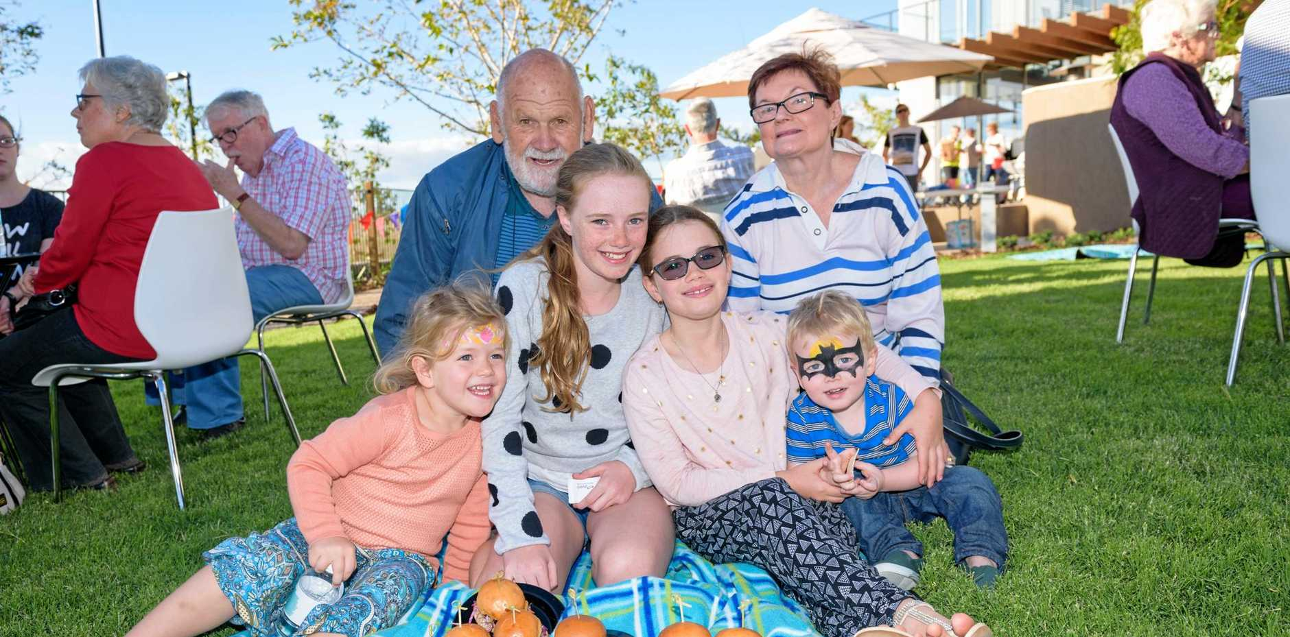 Barbara and Graham Mackay with grandchildren Emma, Chloe, Sarah and Angues at Aveo Springfield's Grand Opening event.