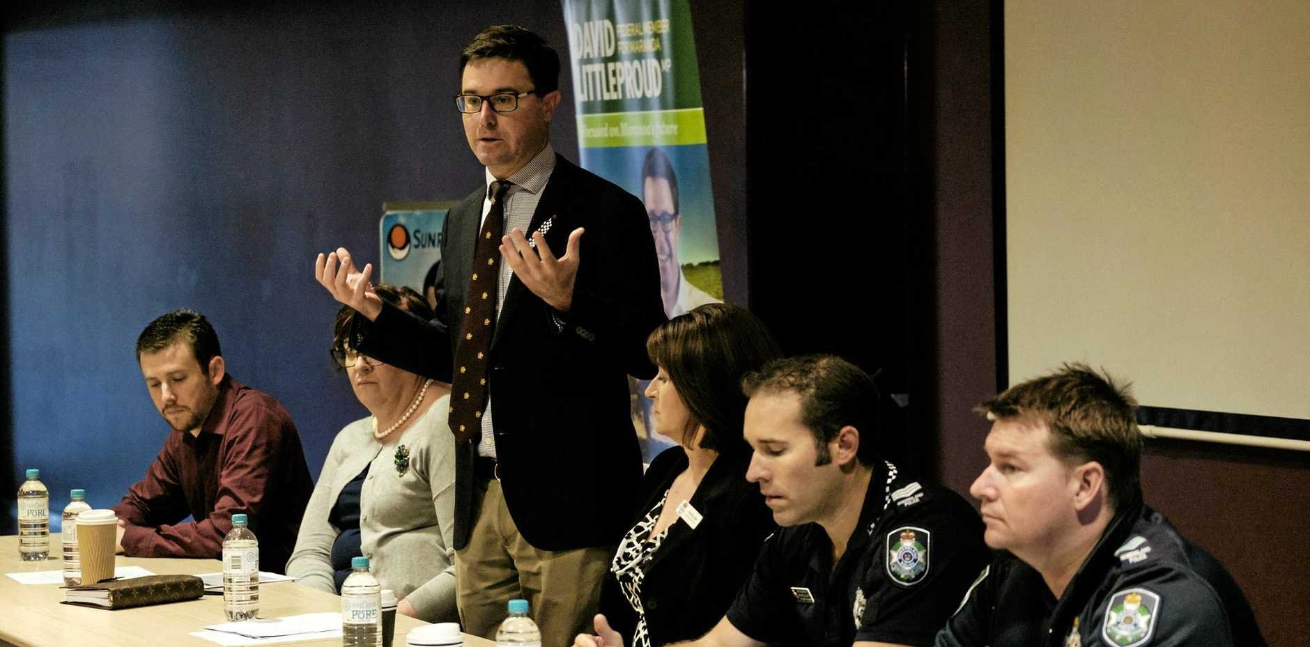 WE NEED TO TALK: David Littleproud opens the community ice forum at the Chinchilla Cultural Centre on Monday morning.