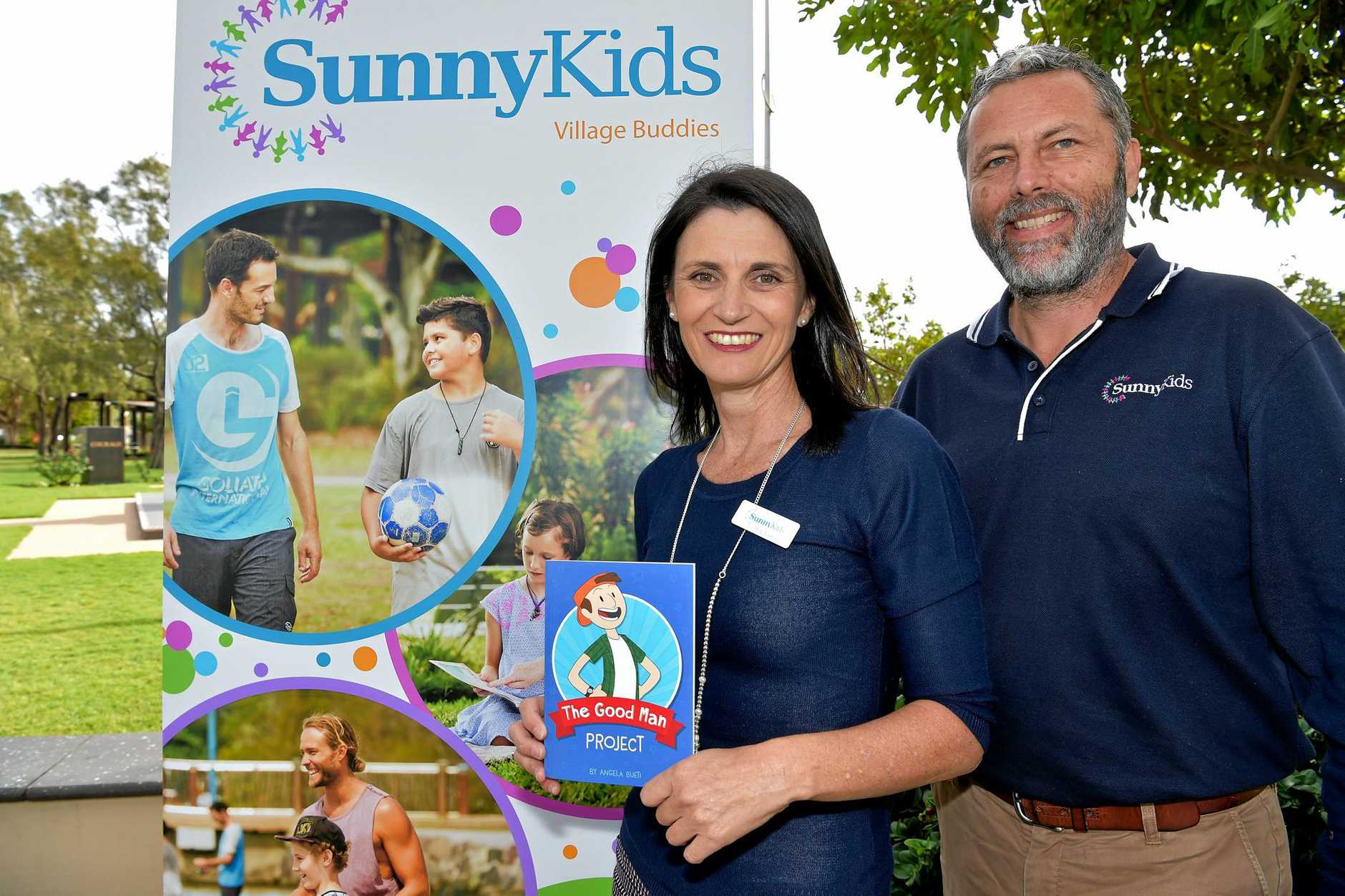 Rachael Witton and Chris Turner from SunnyKids at the launch of the Village Buddies pilot mentoring program. Sunshine Coast Mayor Mark Jamieson has urged the community to help fund SunnyKids and at-risk Coast children.