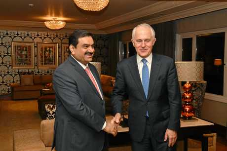 Australian Prime Minister Malcolm Turnbull (right) meets with India's Adani Group founder and chairman Gautam Adani in New Delhi, India, earlier this year.