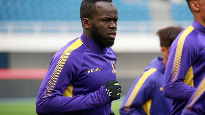 Cheick Tiote training with Beijing Enterprises in April.
