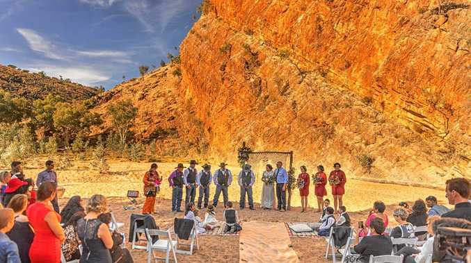 MAJESTIC: The wedding of Jason Craigie and Tara Fulwood was held 90km outside Alice Springs on Loves Creek Station.