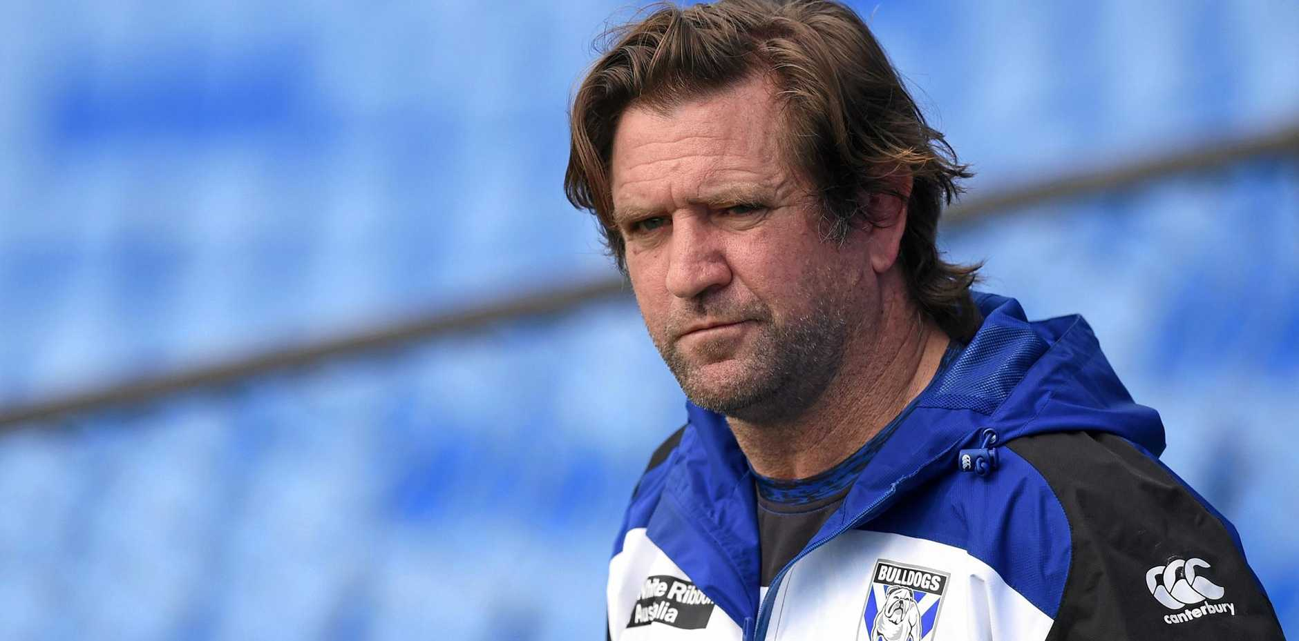 Bulldogs coach Des Hasler looks on during a training session in Sydney.