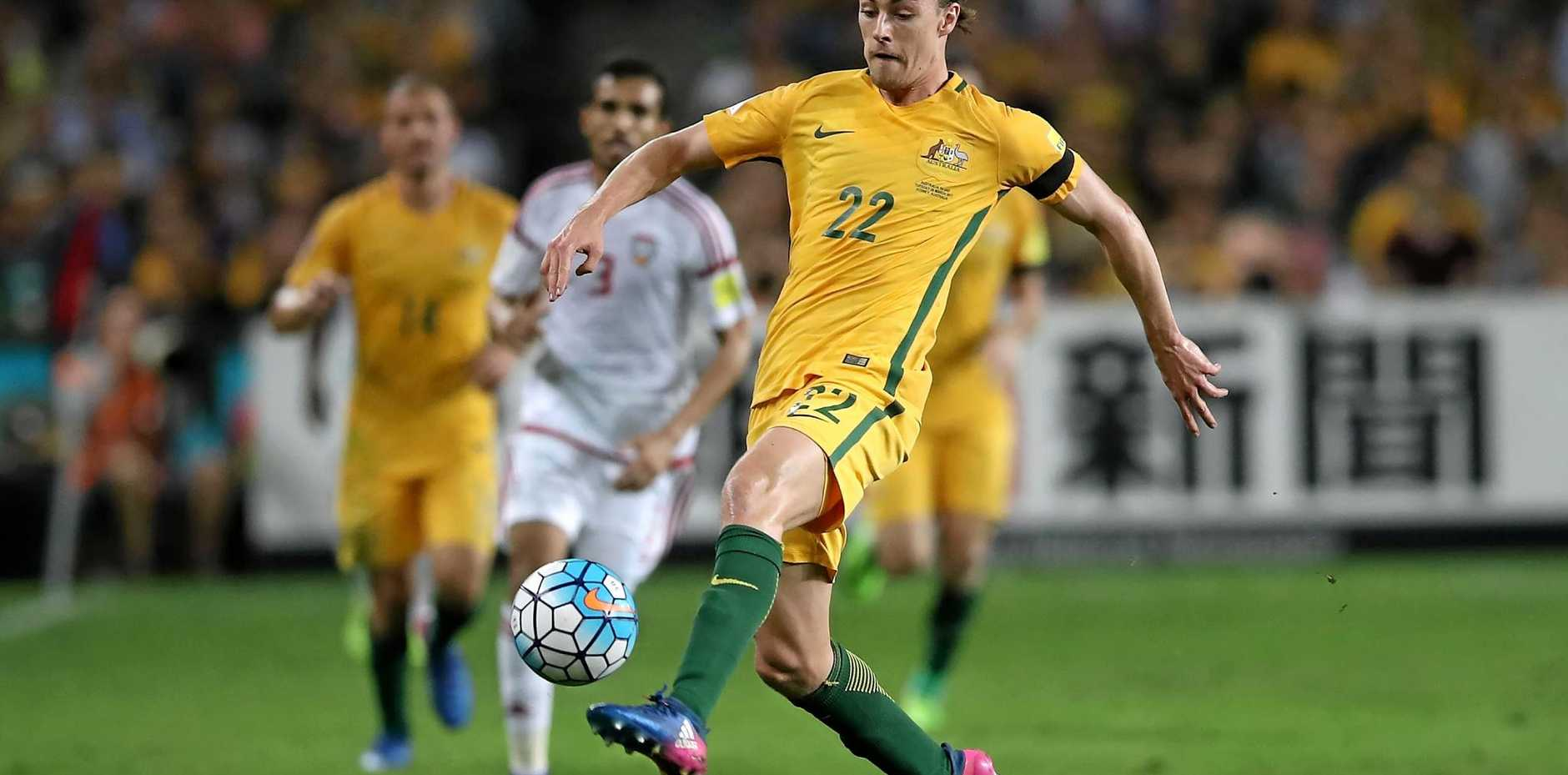 Jackson Irvine playing for the Socceroos in the World Cup qualifier against the United Arab Emirates at Allianz Stadium in March.