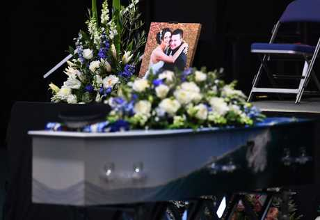 Senior Constable Brett Forte's casket is seen during his funeral service in Toowoomba, Wednesday, June 7, 2017. Senior Constable Forte was killed on May 29 near Gatton, when gunman Ryan Maddison opened fire on officers before he was shot dead after an overnight siege. (AAP Image/Dan Peled) NO ARCHIVING