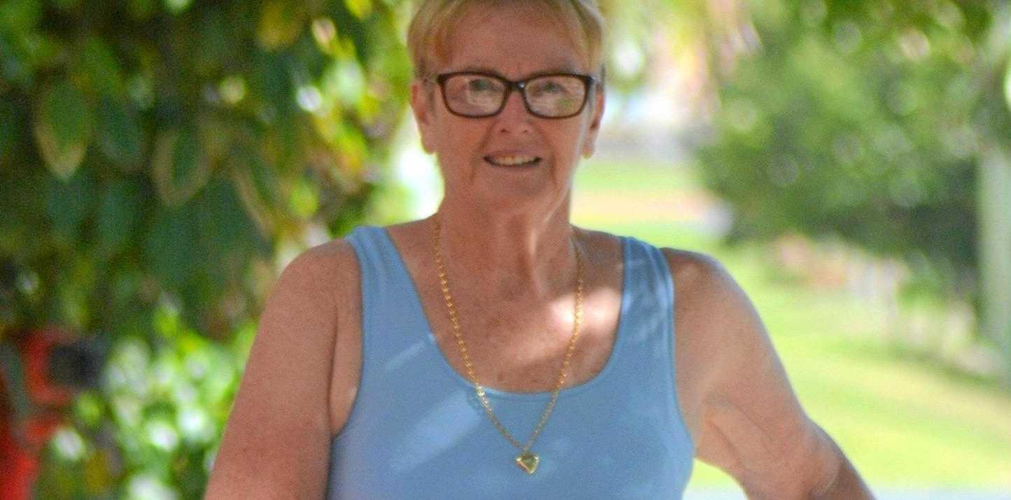 ON HER MARKS: Christine Gleria strides along in preparartion for the Gold Coast Marathon's 5.7km Challenge.