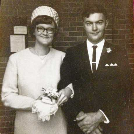 WEDDING BELLS: John and Rosalind Miners on their wedding day in Brisbane on June 10, 1957.