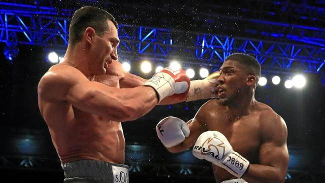 Anthony Joshua and Wladimir Klitschko in action during their heavyweight bout in April.