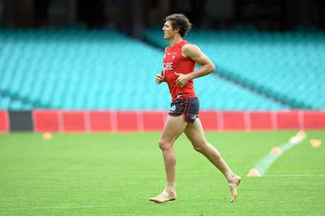 Kurt Tippett takes part in a Swans training session in Sydney