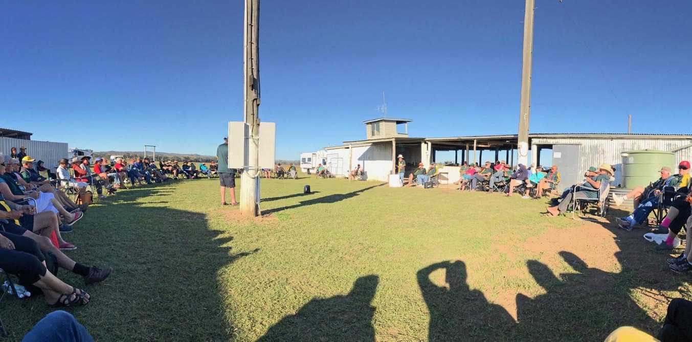 The Highway Wanderers gather at the Monto Polocrosse Grounds during their 23rd birthday stopover.