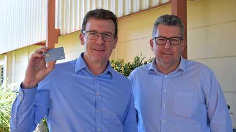 Human Services Minister Alan Tudge and Member for Hinkler Keith Pitt in Hervey Bay