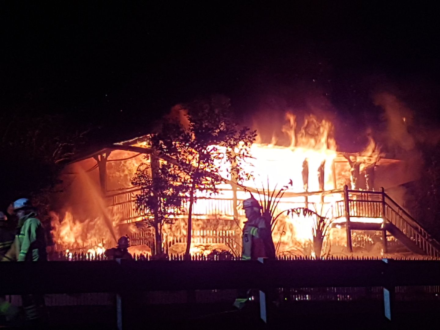 A neighbour took this photo of the Chermside Rd fire.