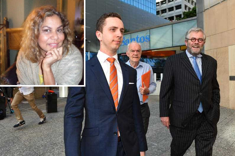 Former QUT admin officer Cindy Prior (inset) faces bankruptcy action after an unsuccessful lawsuit against QUT student Calum Thwaites, pictured with lawyer Tony Morris QC.