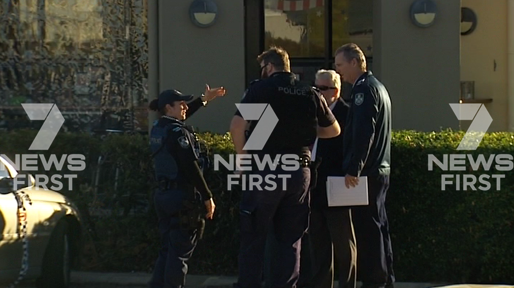 Detectives outside the Bernborough Tavern in Oakey where a man, 84, was found dead. Photo 7 News Toowoomba