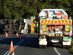 A truck carrying nuts has rolled on Lismore road