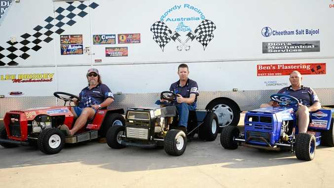 Mower racers, Paul Reeves, Jay Wilkins and Les Beckman.