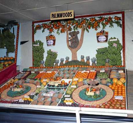 Palmwoods District fruit display, Nambour Show, 1973.