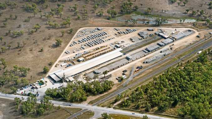 CONTRACT SECURED: Aerial   view of the Rockhampton yard of Austrak, the local company that won the tender to supply sleepers for the rail line.