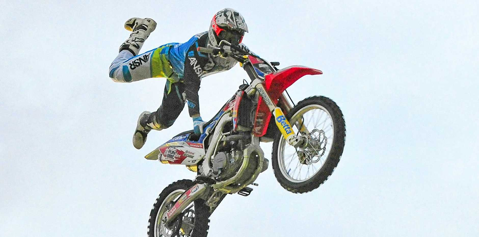 The Showtime FMX bike show, Bunnings carpark. Photo Mike Richards / The Observer