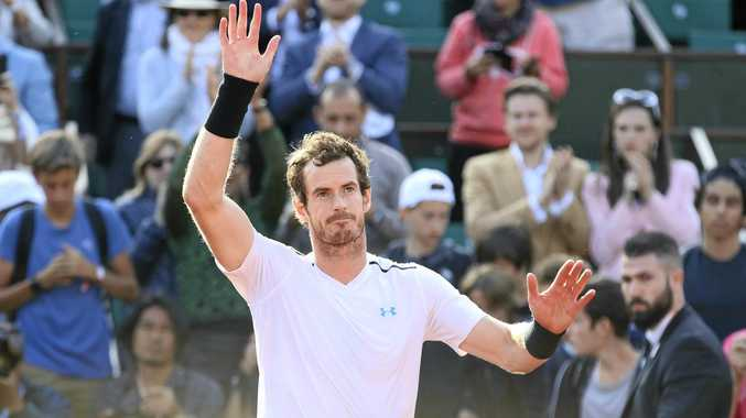 Andy Murray celebrates after defeating Kei Nishikori in the quarter-finals of the French Open.