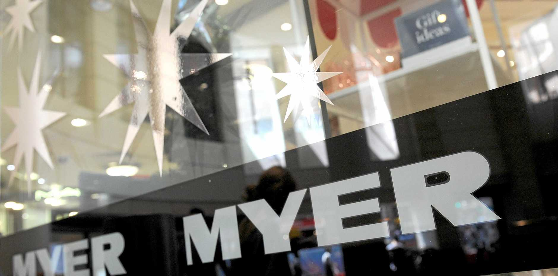 Myer signage at a retail store in Sydney, Friday, Nov. 11, 2016. (AAP Image/Joel Carrett) NO ARCHIVING
