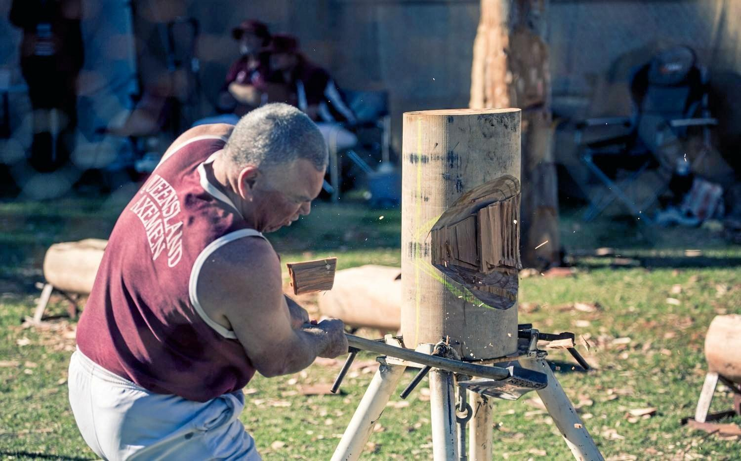 Woodchopping skills always attract a crowd at Maleny Show.