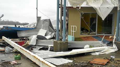 Cyclone Debbie aftermath in Airlie. Ferry Terminal on Shute Harbour torn to pieces. Picture: Alix Sweeney.
