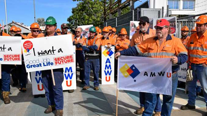 An Aurizon protest in Rockhampton.