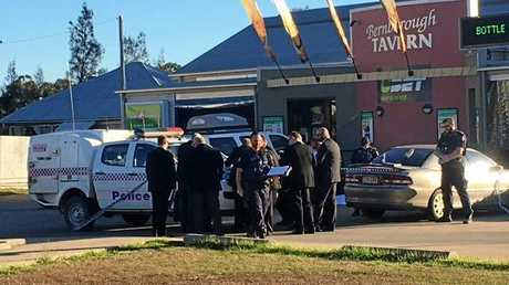PUB FIGHT: Detectives at the Bernborough Tavern where Oakey man Calvin Smith, 82, died after an alleged fight.