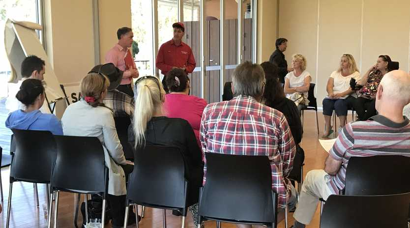 Member for Maryborough Bruce Saunders speaks at a meeting regarding the potential introduction of the cashless welfare card.