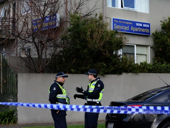 Police outside the Buckingham Serviced Apartments in Brighton following a siege. Picture: David Geraghty/The Australian.