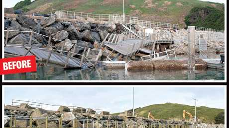 MOVING ON: The Coffs Harbour International Marina before and after the damge caused by an east coast low.