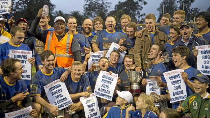 Dalby Wheatmen celebrate their win of the Risdon Cup. Dalby vs Goondiwindi. Risdon Cup grand final. Saturday Sep 10 , 2016.