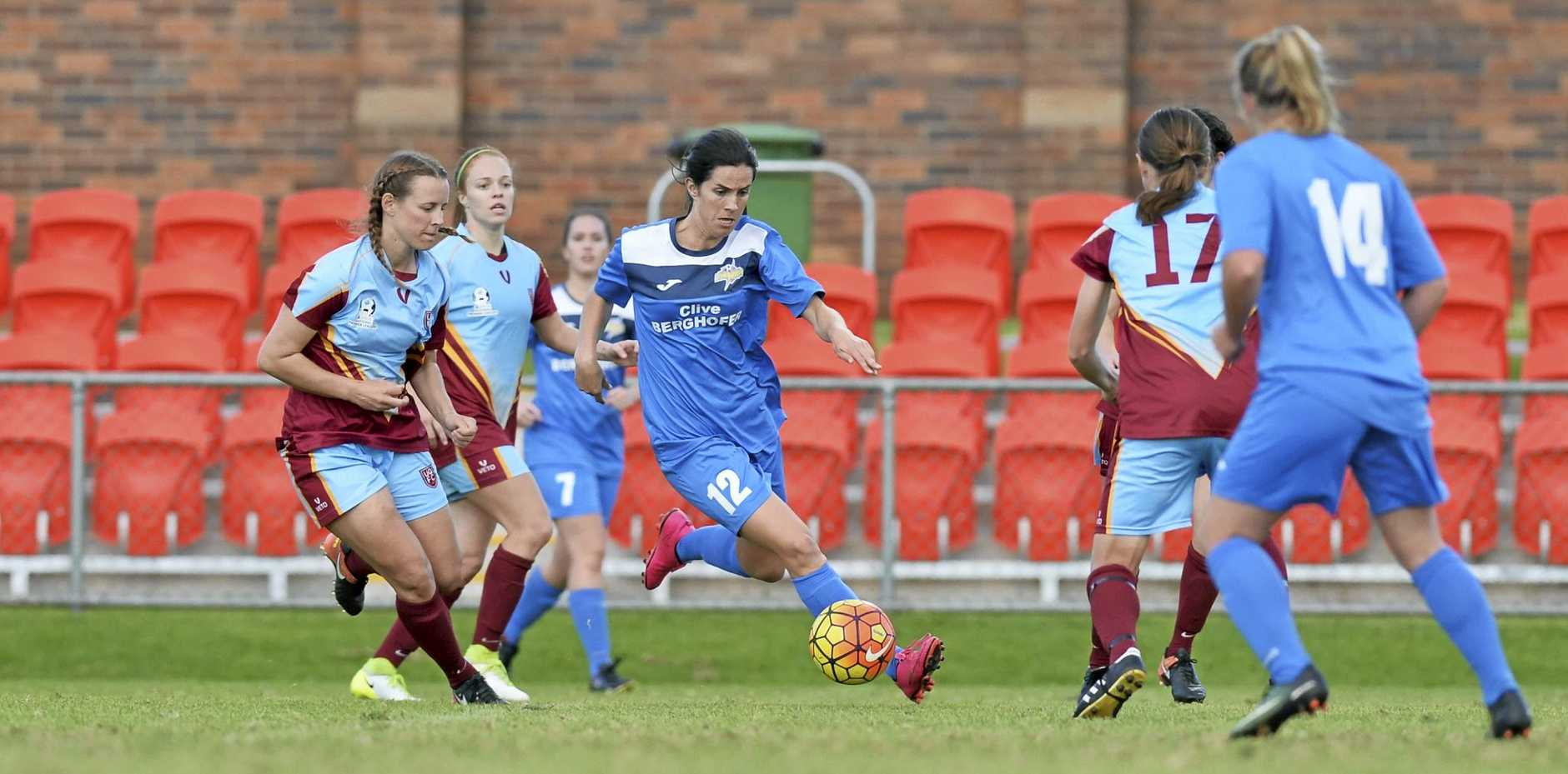 BIG SEASON: Louise Rolfe for South-West Thunder against UQFC in NPL Queensland women round nine football at Clive Berghofer Stadium.