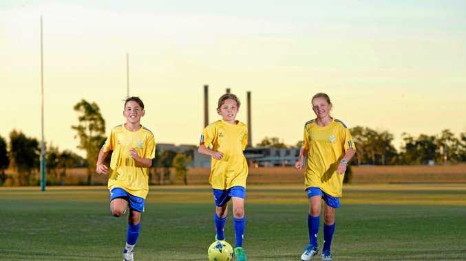 TERRIFIC TRIO: Arian Raghoobar 10, Adam Davis 11 and Eden Colen 11 will be competing in tomorrow's representative junior soccer games.