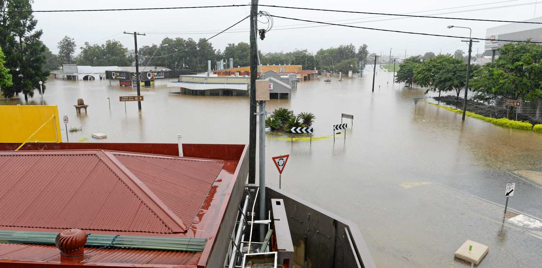 INUNDATED: Gympie's CBD under water in the 2013 flood.