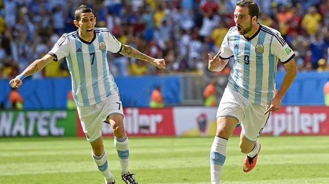 Argentina's Gonzalo Higuain (right) celebrates with Angel di Maria after scoring a goal.
