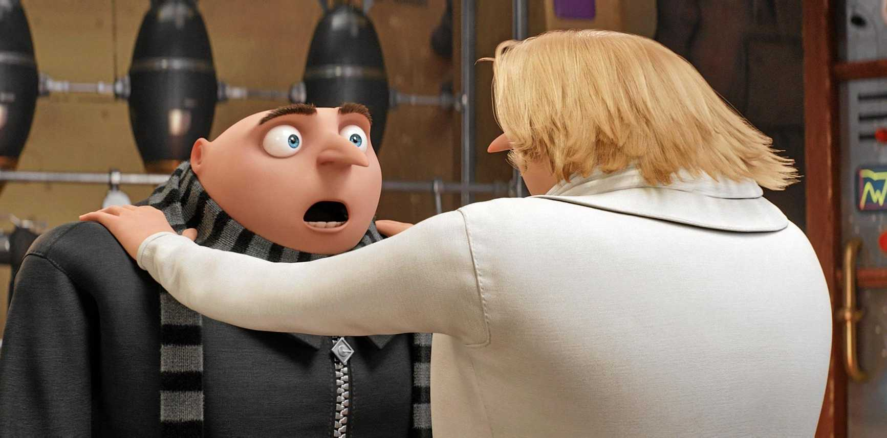 Gru meets his twin brother Dru in a scene from the movie Despicable Me 3.