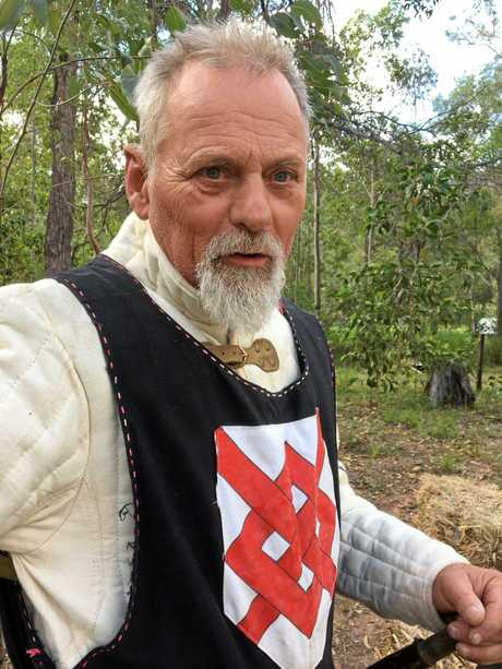 Lord Terence Blake in armour and looking forward to duel practice this Sunday.