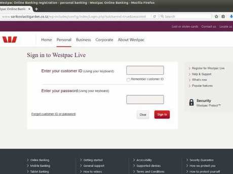 The fake website looks very much like Westpac's banking page.