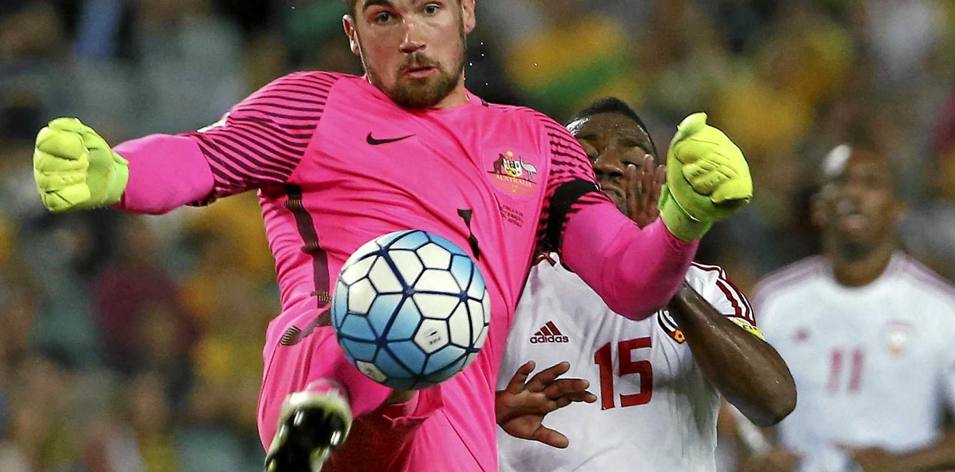 Goalkeeper Mathew Ryan playing for the Socceroos.