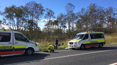 A MALE and a female patient have been taken to the Gladstone Hospital via ambulance following a single-vehicle crash involving a motorcycle off the Bruce Hwy